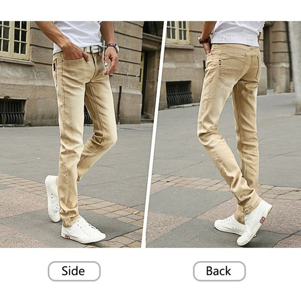 Men's Jeans New Fashion Solid Color Stretch Skinny Jeans Feet Pants Male Casual Trousers Male Pants Tights -  THE EASY LOVE SHOPPE