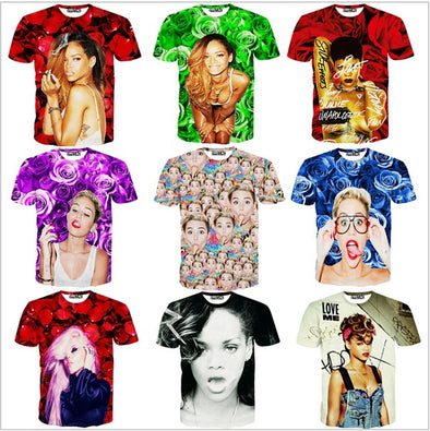 Women Men Miley Cyrus Paparazzi T-Shirt Robyn Rihanna Fenty tee Rose Kerli Koiv t shirts 3d summer tops tees sexy outfit shirt