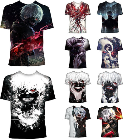 Men Tokyo Ghoul Kaneki Ken Cosplay 3D T-shirt Japanese Anime O-neck Short Sleeve Shirt