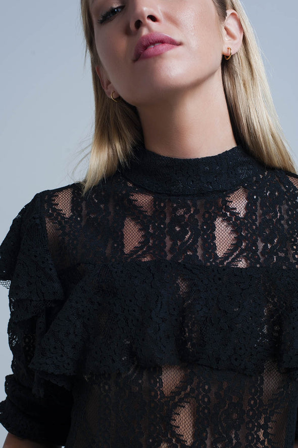 Black lacy shirt and ruffles -  THE EASY LOVE SHOPPE