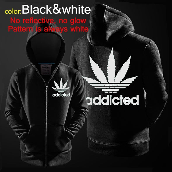Lady funky hoody ADDICTED letter printing long-sleeved luminous zipper jacket black sports hooded sweater -  THE EASY LOVE SHOPPE