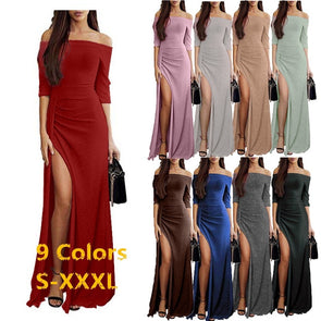 Autumn Fashion Strapless Women Off Shoulder High Slit Bodycon Dress Long Sleeve Dresses