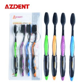 AZDENT Hot 4PCS Double Ultra Soft Toothbrush Bamboo Charcoal Nano Brush Oral Care 625 Nano-antibacterial Toothbrush Black Heads -  THE EASY LOVE SHOPPE