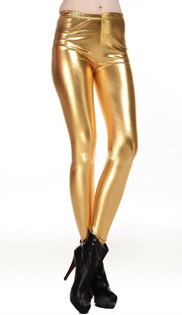 BIVIGAOS Fashion Gothic Punk Rock Style Gold Metallic Color Sexy Bright Sequin PU Faux Leather Leggings Pants Fitness For Women -  THE EASY LOVE SHOPPE