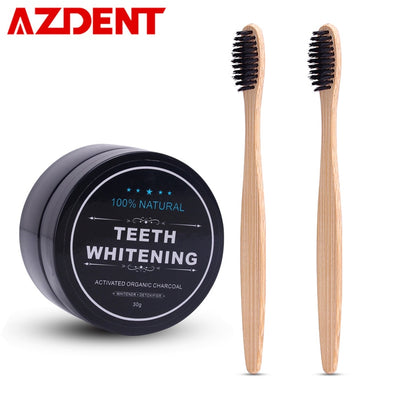 AZDENT Teeth Whitening Powder Set 2 Pcs Bamboo Toothbrush Charcoal Toothpaste Whitening Tooth Powder Toothbrush Oral Hygiene -  THE EASY LOVE SHOPPE