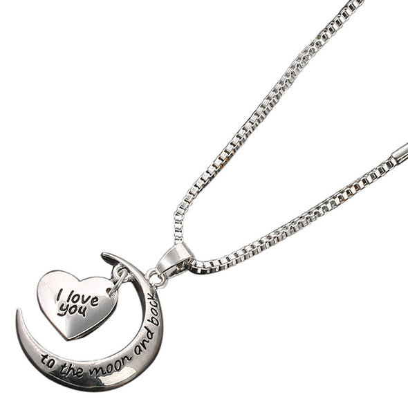 I Love You To The Moon & Back Necklace Pendant Charm Gift Present -  THE EASY LOVE SHOPPE