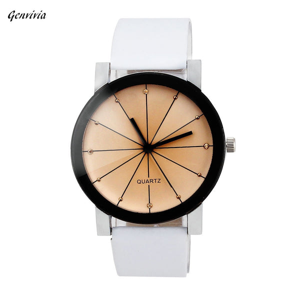 GENVIVA High Quality Men Quartz Dial Clock Stainless Steel Leather Wrist Watch Round Case -  THE EASY LOVE SHOPPE