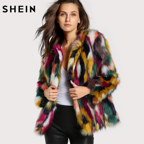 High Fashion Multicolored Faux Fur Coat / Collarless -  THE EASY LOVE SHOPPE
