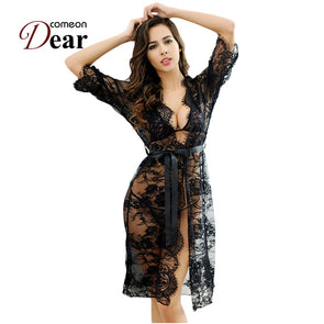 Comeondear Black Sheer Transparent Lace Underwear Sexy Night Sleeping Dress With Belt Fitness Lingerie RB80289 Sexy Hot Erotic -  THE EASY LOVE SHOPPE