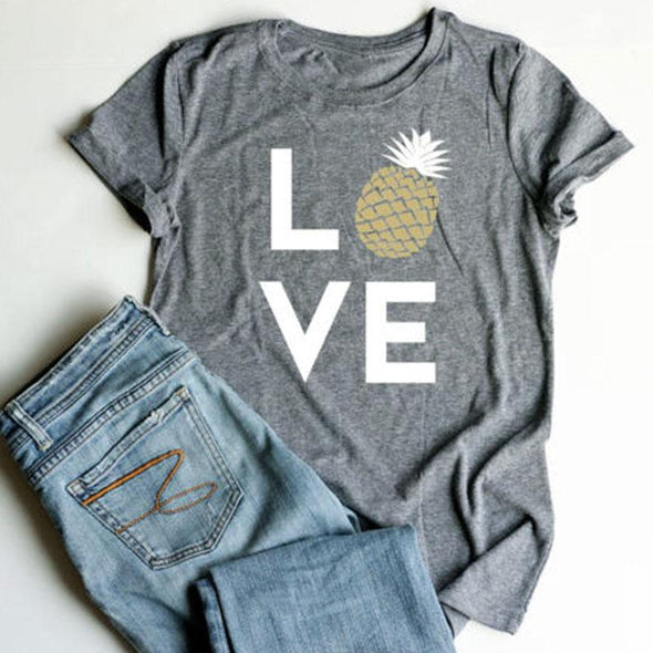 Women TShirts Love Letter Pineapple Printed Short Sleeve Tops ONeck Summer Tee 2018 Casual Soft Top Girls Tshirt All Match