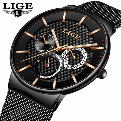 LIGE Designer Waterproof Men's Watch -  THE EASY LOVE SHOPPE