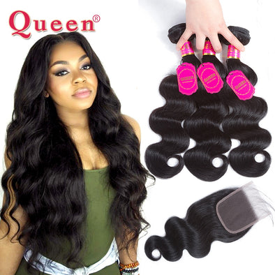 Queen Hair Products Brazilian Body Wave Hair Weave Bundles With Closure Brazilian Virgin Hair Human Hair Bundles With Closure -  THE EASY LOVE SHOPPE