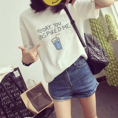 T-shirt Women today you inspired me Top Tees Cotton Tshirt Female Brand Clothing T Shirt Printed Letter Top Cute Tee