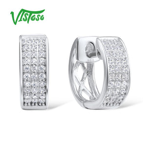 VISTOSO 925 100% Sterling Silver White Earrings/High Quality