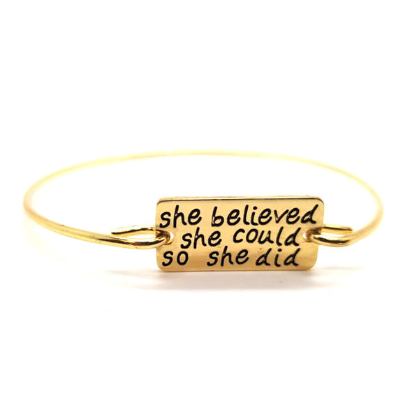 She Believed She Could So She Did Bangle -  THE EASY LOVE SHOPPE