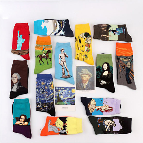 Fashion 19 Patterns Cotton Famous Painting Printed Character Harajuku Design Women Men Art Socks Clothing Accessories -  THE EASY LOVE SHOPPE