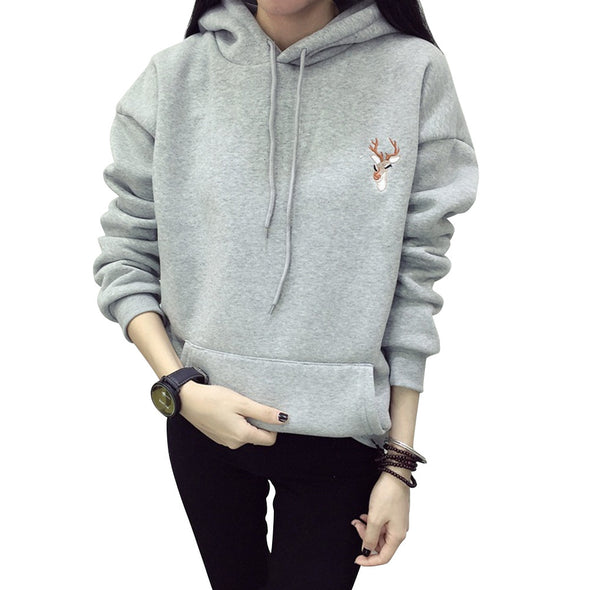 Deer Embroidery Hoodies for Women -  THE EASY LOVE SHOPPE