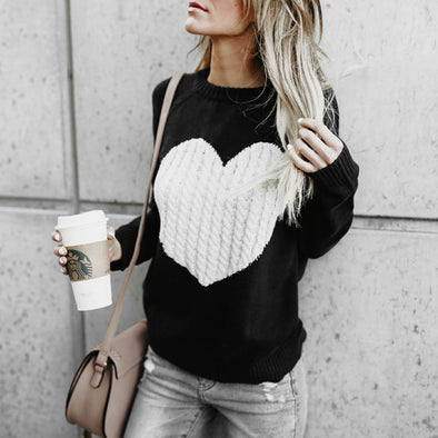 Conmoto Regular O Neck Long Sleeve Sweater Heart Patchwork Winter Thin Knitwear Pullover Sweters Women Invierno 2018 -  THE EASY LOVE SHOPPE