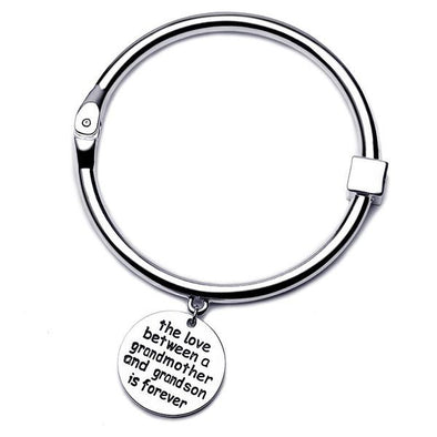 The Love Between Grandmother and Grandson Bangle - Silver