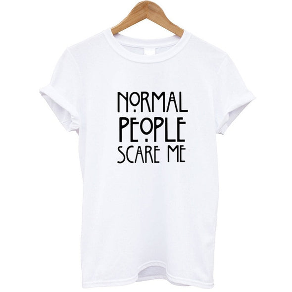 Women Black T-shirt Cotton Normal People Scare Me Printed Funny Tshirt Women Short Sleeve Cool Summer Tops Camisetas Mujer 2018