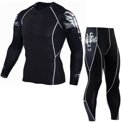 Leggings Men's Sports Suit Compression Sportswear Fitness Apparel Jogging Pants Men Running Set MMA Clothing Rash guard Male 4XL -  THE EASY LOVE SHOPPE
