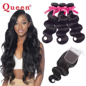 Queen Hair Products Brazilian Hair Weave Body Wave 3 Bundles With Closure  Brazilian Virgin Hair Human Hair Bundles With Closure -  THE EASY LOVE SHOPPE