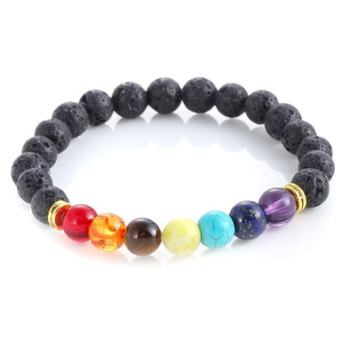 7 Gemstone Chakra Lava Rock Stone Spacer Healing Bead Bangle Bracelet Gift -  THE EASY LOVE SHOPPE