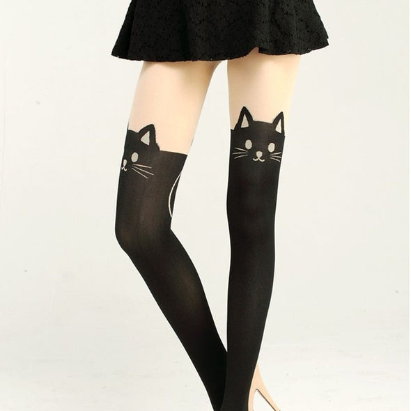New Japan Totoro Print Knee High Length Socks Chinchilla Tattoo Tights Pantyhose -  THE EASY LOVE SHOPPE
