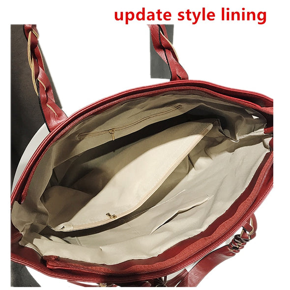 Large Capacity Casual Tote Bag Female Leather Handbags 2019 Fashion Designer Tassel Shoulder Bags for Women Retro Shopper Purses -  THE EASY LOVE SHOPPE
