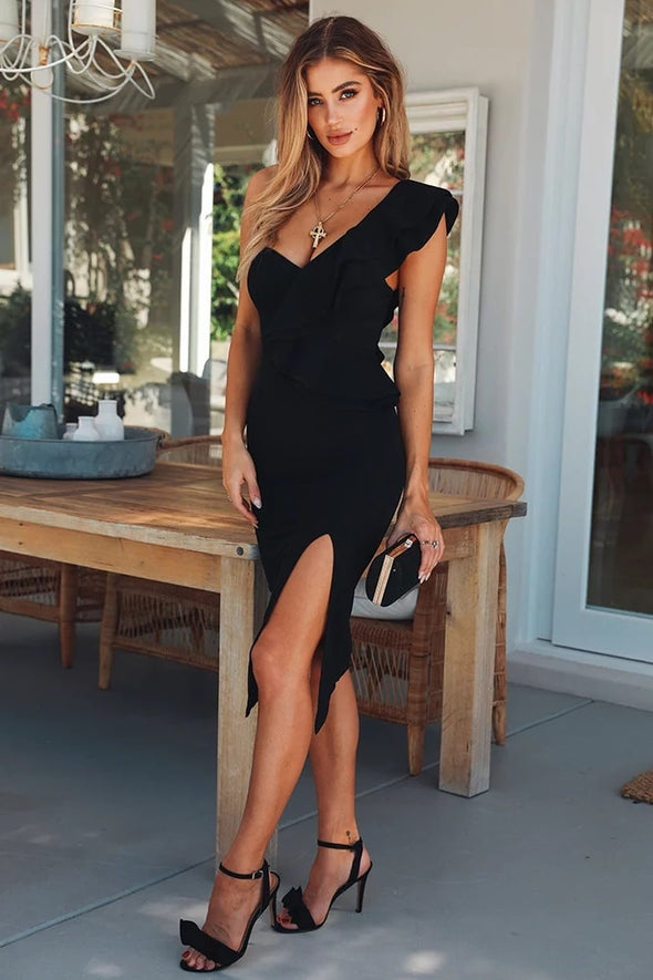 Fashion Chic Black Sexy One Shoulder Ruffles 2018 Design/ free shipping -  THE EASY LOVE SHOPPE