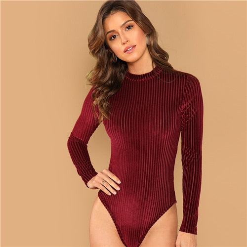 SHEIN Burgundy Modern Lady Mock-Neck Cord Stand Collar Mid Waist Long Sleeve Bodysuit 2018 Autumn Women Elegant Bodysuits -  THE EASY LOVE SHOPPE