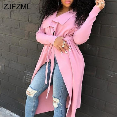 HOT!!! 2019 Pink Long Trench Outerwear for Ladies/ w Turn-down Collar -  THE EASY LOVE SHOPPE