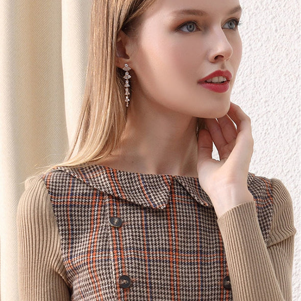 Onlyplus Winter Vintage Wool Party Dress/ Peter Pan Collar Pocket/ Slim Elegant/Plaid free shipping -  THE EASY LOVE SHOPPE