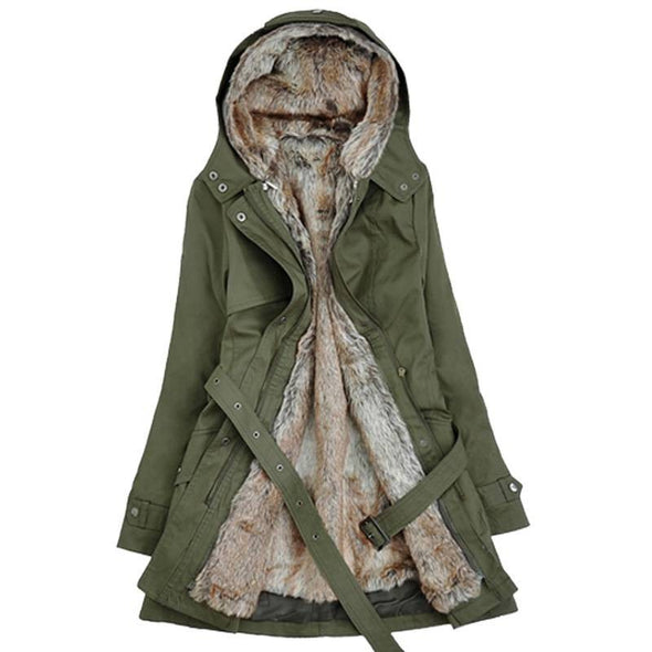 Women's Ladies Winter Long Warm Thick Parka Faux Fur Lined Jacket Hooded Coat Longline Parka Trench