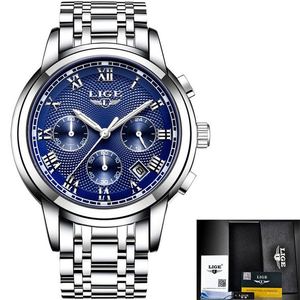LIGE Mens Watches Top Brand Luxury Chronograph Business Quartz Watch Men Full Steel Waterproof Sports Watches Relogio Masculino -  THE EASY LOVE SHOPPE