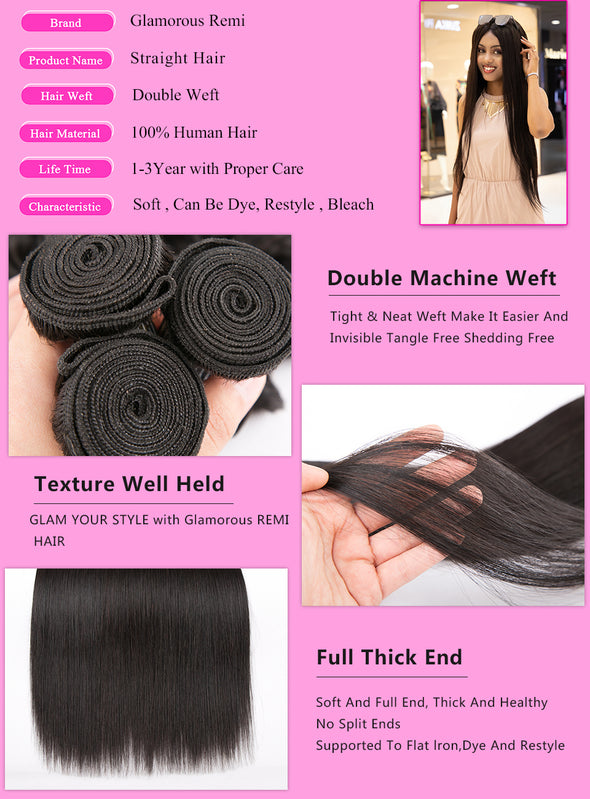 Glamorous Remi Hair 8A Brazilian Straight Hair Weaves 1 4 3pcs/lot Virgin Remy Human Hair Bundles Brazilian Hair Straight Weft -  THE EASY LOVE SHOPPE