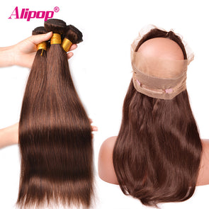 #4 Light Brown Colored Bundles With Closure 360 Lace Frontal With Bundles Brazilian Straight Bundles With Frontal Alipop NonRemy -  THE EASY LOVE SHOPPE