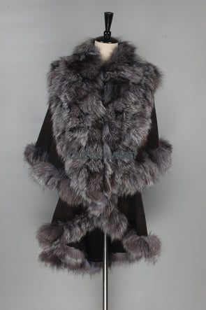 Real Fur Poncho 100% Silver Fox Fur Collar/ 100% Cashmere Shawl Wrap -  THE EASY LOVE SHOPPE
