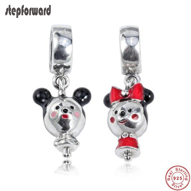 925 Solid  100% Sterling Silver Mickey And Minnie Charms -  THE EASY LOVE SHOPPE