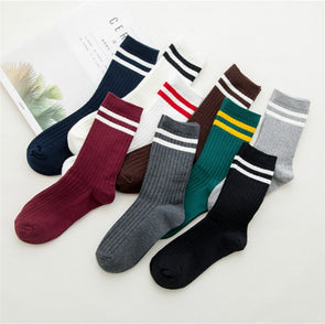 Funny Cute Japanese High School Girls Cotton Loose Striped Crew Socks Colorful Women Sox  Harajuku  Designer Retro Yellow White -  THE EASY LOVE SHOPPE