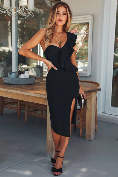Black Sexy One Shoulder Ruffles -  THE EASY LOVE SHOPPE