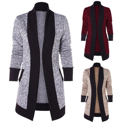 Fashion Women Casual Long Sleeve Two Tone Patchwork Knit Pocket Cardigan Tops -  THE EASY LOVE SHOPPE
