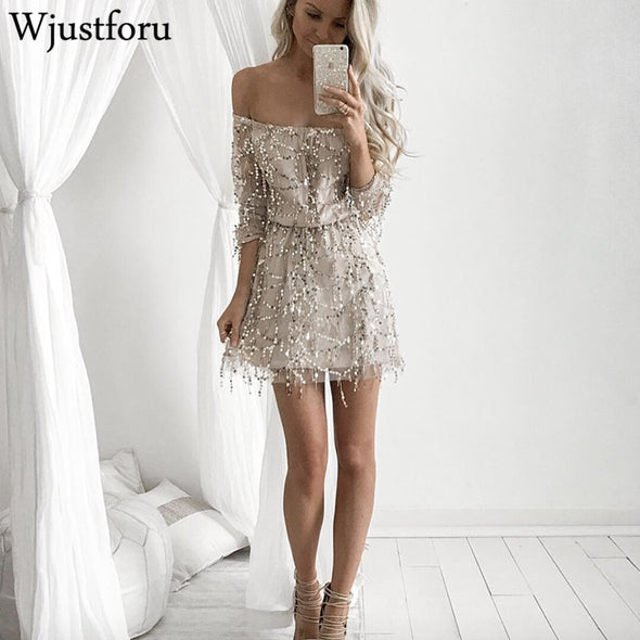 Wjustforu Off Shoulder Sexy Sequin Mini Dress