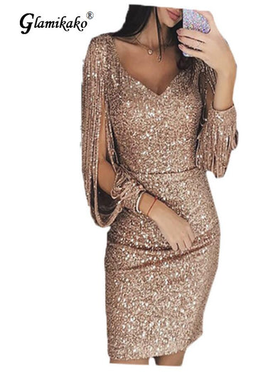 HOT!!!!!!Glamikako  Golden Part Dress/ Various Colors / FREE SHIPPING -  THE EASY LOVE SHOPPE