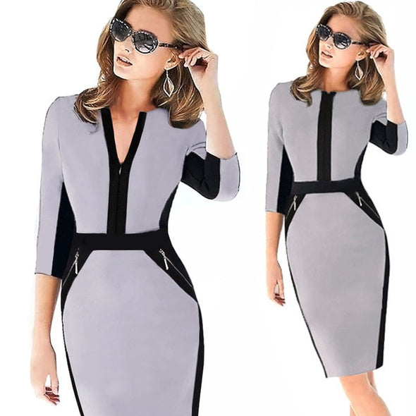 Glamikako Plus Size Front Zipper Ladies  Elegant  Work wear /Bodycon /Business/Casual/ 6 CHOICES!!!/ free shipping -  THE EASY LOVE SHOPPE