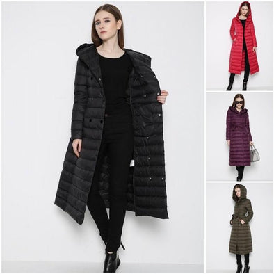 Winter fashion women's slim hooded long down coat warm jacket
