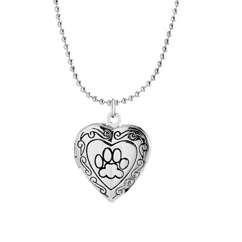 Frame Locket Necklace with a Dog Paw Footprint