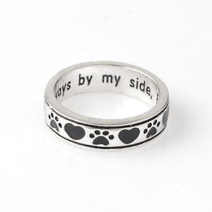 """Always by my side, forever in my heart"" Dog Paw Ring [Their love is unconditional]-Doggy Love Home"