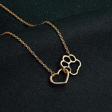 Load image into Gallery viewer, Linked Heart and Hollow Dog Paw Necklaces [5 stars]