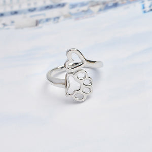 "Adjustable Ring - ""Always By My Heart"" with a Hollow Dog Paw-Doggy Love Home"